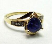 Vtg 10K Gold Tanzanite Diamond Ring Sz 6.75 Ornate Setting Trillion Cut Estate
