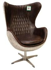 Aviation Aviator Swivel Egg Leather Aluminium Desk Study Armchair Vintage Brown