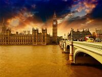 HOUSES PARLIAMENT WESTMINSTER LONDON BRIDGE BIG BEN ART PRINT POSTER BMP2148A