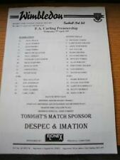 09/04/1997 Teamsheet: Wimbledon v Aston Villa (Folded). No obvious faults, unles