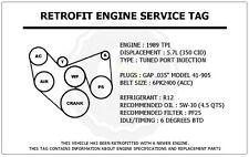 1989 TPI 5.7L Trans Am Retrofit Engine Service Tag Belt Routing Diagram Decal