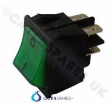 16 AMP GREEN ROCKER SWITCH POWER ON OFF DOUBLE POLE 4 PIN 22 X 31MM 230V PART