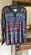 TALBOTS Womens Cardigan Sweater Button Front Halloween Black Size Large