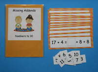 Teacher Made Math Centers Resource Game Missing Addends Numbers to 30