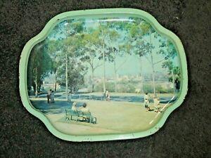 2 Metal Trays Circa 1970's Kings Park Perth & The Old Mill Perth 41x33.5cm