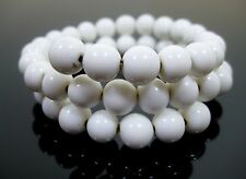 Vintage White Milk Glass Coil Bracelet Round Beads Memory Wire