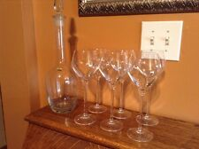 Friedrich Mundgeblasen large decanter &  6  HIGH quality crystal goblets glasses