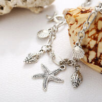 Silver Plated Conch Starfish Shell Tassel Bracelet Bangle Anklet Foot Chain 1Pcs