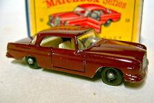 """Matchbox RW53B Mercedes 220SE maroon rare schwarze Räder in """"D"""" Box"""