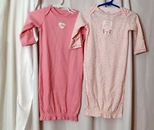 Lot of 2 Carter's 0-3 months infant sack nightgown pajamas pink