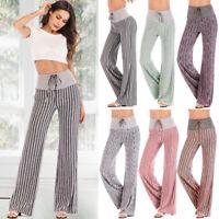 Women's High Waist Yoga Pants Palazzo Wide Leg Loose Casual Trousers Plus Size G
