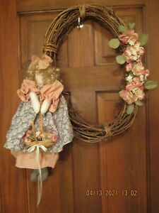 """GRAPEVINE WREATH with 17"""" RAG DOLL-Pink/white Flowers-Doll/basket flowers"""
