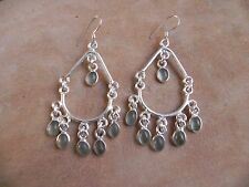 Pale Aquamarine & Sterling Silver .925 Chandelier Earrings Taxco Mexico