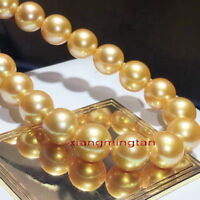 "AAAAA 17""12-13mm Natural real south sea deep golden pearl necklace 14K gold"