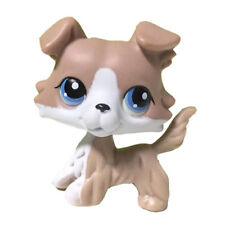 Pet Shop Rare Brown White Collie Dog Puppy LPS Toys Kids Gift Blue Eyes