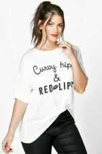New Boohoo Curve Ivory CURVY HIPS & RED LIPS Slogan T-Shirt Top PLUS Size 18