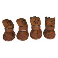 Marron Botas de cierre de bucle de gancho Zapatos para Chihuahua perro masc M8G8