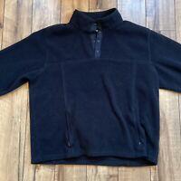 Vintage LL BEAN Black Polartec Fleece Pullover Snap T Button Mens XL