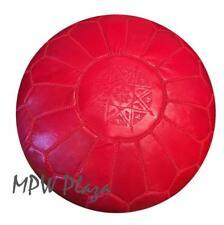 MPW Plaza Pouf, Red, Moroccan Leather Ottoman (Un-Stuffed)