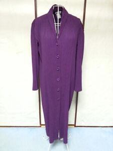 Purple Coat Jacket PLEATS PLEASE Issey Miyake VG