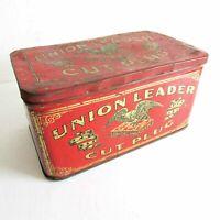 """Vintage UNION LEADER Cut Plug Tobacco Tin Litho Hinged Lid 6x4x3"""" FREE SH"""