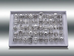 15pcs Wholesale Big Gothic Punk Skull Antique Silver Rings Mixed Style Jewelry