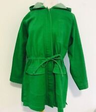 Ellen Tracy Co Jacket Raincoat sz Small 3/4 Length Green Hooded Full Zip P35