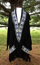 Ralph Lauren Sweater Coat fringed Cardigan black Snowflake M/L NWT
