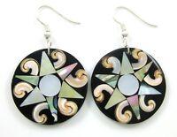 Naturel Nacre Abalone Coquillage Dangle Boucles d/'oreilles pendantes Femme Bijoux CA235