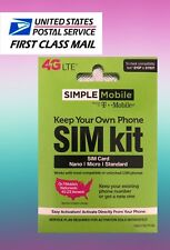 Simple Mobile 4G LTE Blank Sim Card With 3 Different Sizes Nano-Micro-Standard