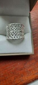 925 sterling silver ring FILIGREE Size M LOVELY Stamped 925