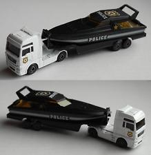 Majorette - MAN TGX mit Auflieger und Motoryacht weiß/schwarz POLICE Neu/OVP