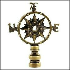 ANTIQUE  BRASS  COMPASS  ROSE  ELECTRIC  LIGHTING  LAMP  SHADE  FINIAL    (NEW)