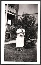 Vintage 1925 Photograph American Eskimo Dog With Lady Fashion Of Era Old Photo