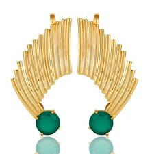 Natural Green Onyx Gemstone Jewelry, Exclusive Jewelry, 925 Silver Ear Cuff