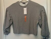 Bershka Womens New Black And White Striped Puff Sleeve Top Large Size L
