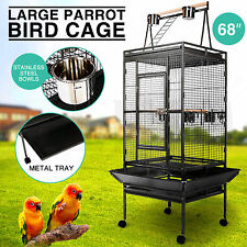 "Large Bird 68""Parrot Cage Pet Supplies Iron Play Top Finch w/Stand Ladder Wheel"