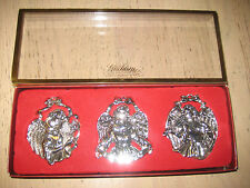 SET OF 3  SILVER PLATED GORHAM ANGEL ORNAMENTS NEW IN BOX NIB