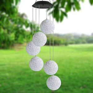 LED Solar Windspiel Gartendeko Solarleuchte Solarlampe Farbwechsel mit 6 Kugeln