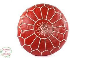 Leather ottoman Moroccan pouf embroidered red Leather Pouf floor poufs Morocco