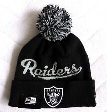 OAKLAND RAIDERS New Era American Football Cuff BLACK Bobble Beanie Toque Hat NFL