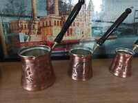 Quality Turkish Greek Engraved Copper Coffee Maker Pot Cezve Ibrik Briki Set of