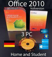 Microsoft Office Home and Student 2010 Vollversion 3 PC Box + DVD OVP neuwertig