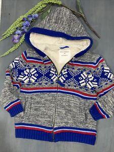 Hanna Andersson Boys 100 Snowflake Stripe Sherpa Full Zip Hooded Sweaters Sz 4