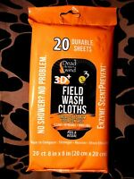 """Dead Down Wind Scent Prevent Field Wash Cloths No Rinse Pack of 20 - 8"""" x 8"""""""