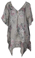 Womens Italian Lagenlook Quirlky 3Button V Neck Floral Linen Plus Size Tunic Top