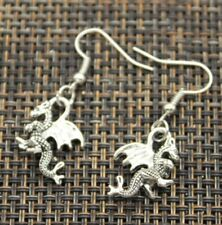 Antique Silver Dragon Drop Dangle Earring Charm Handmade Earring