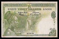 Belgian Congo 20 Francs  P-26  1954   VF
