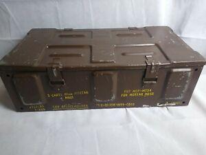 "Military 81mm Metal Ammo Box - 3 Cartridges/Mortar - 25"" x 10.5"" x6"" M821"