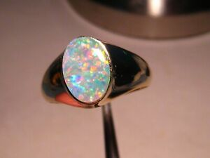 Red and Blue  Natural Australian Opal Men's  Ring     14k Yellow Gold